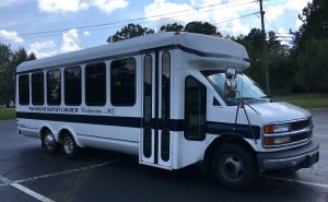 The new Chargers bus donated by Paramount Baptist Church.